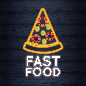 Pizza au néon de restauration rapide