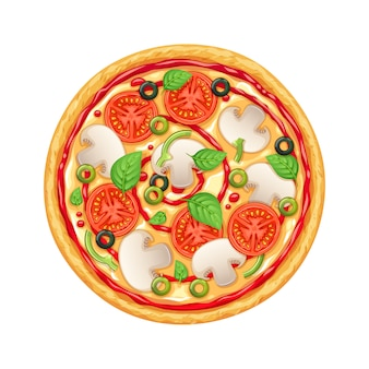 Pizza au poivron, mozarella et tomate.