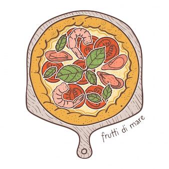 Pizza aux fruits de mer, dessin illustration
