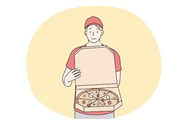 Pizza, concept de livraison de nourriture à domicile.