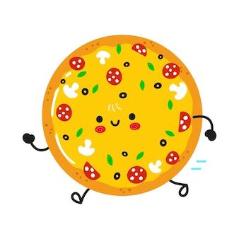 Pizza en cours d'exécution drôle mignon