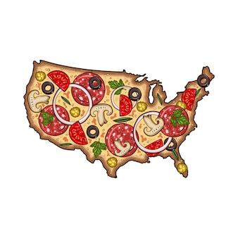 Pizza de dessin animé. carte des états-unis sous forme de pizza. pizza sous la forme d'une carte des usa.