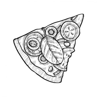 Pizza dessiné à la main