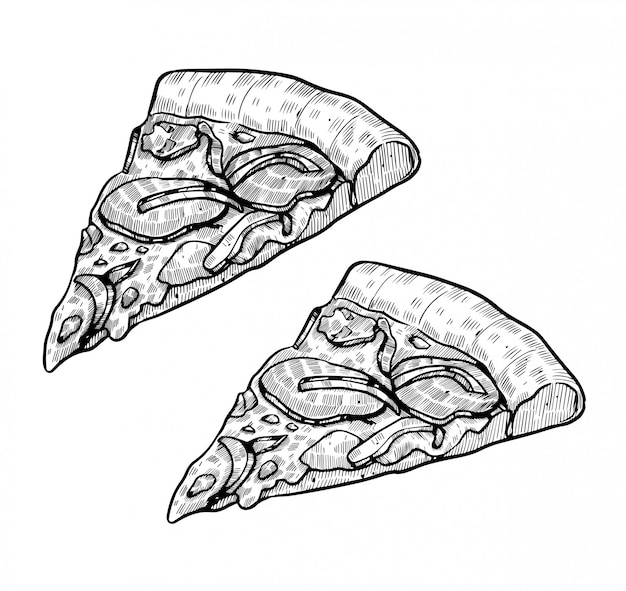 Pizza dessiné à la main