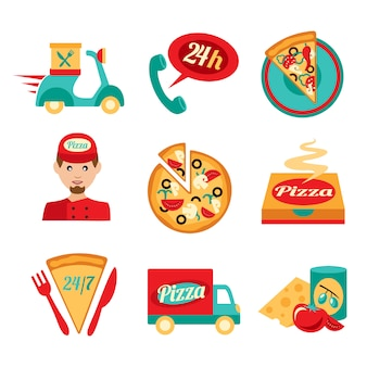Pizza fast delivery icons set