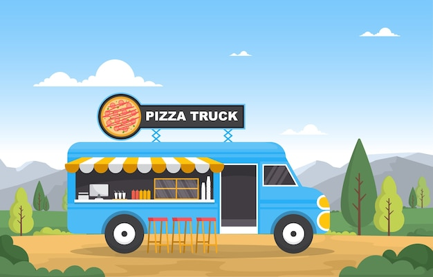 Pizza fast food camion van voiture véhicule rue magasin illustration
