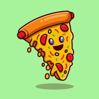 Pizza fondue cartoon icône illustration