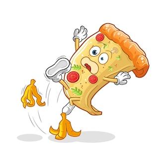 La pizza a glissé sur le caractère de la banane. mascotte de dessin animé
