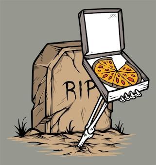 Pizza d'horreur isolée sur fond gris