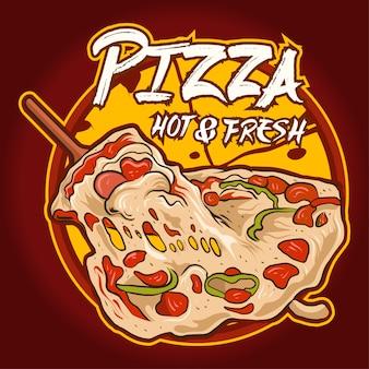 Pizza illustration logo avec texte