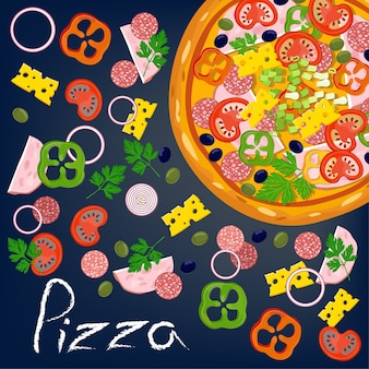 Pizza et ingrédients.