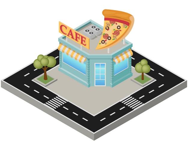 Pizza isométrique bâtiment avec route sur fond blanc.