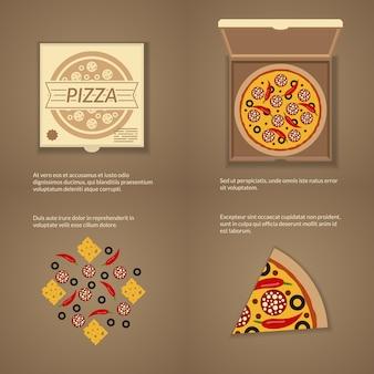 Pizza italienne dans un style plat. boîte en carton, fromage et tranche, collation dîner