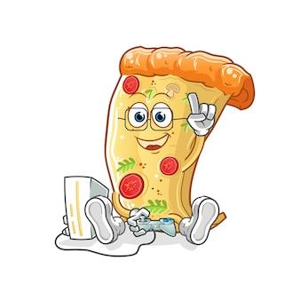 Pizza jouant à des jeux vidéo. personnage de dessin animé