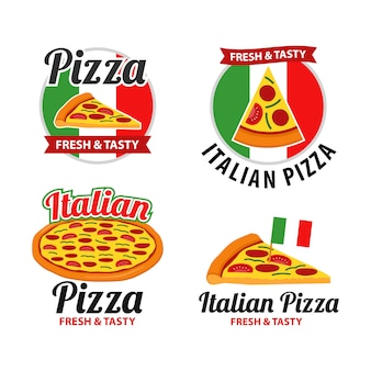 Pizza logo design set vector
