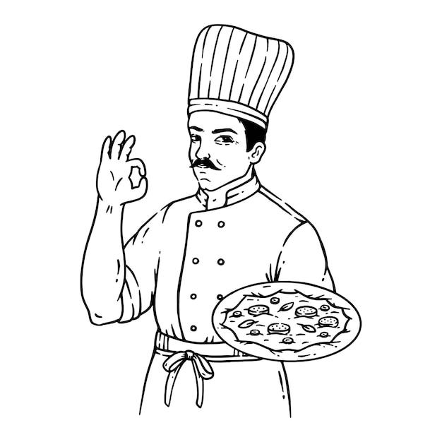 Pizza à la main dans l'illustration de l'art de la ligne de style vintage isolé sur blanc