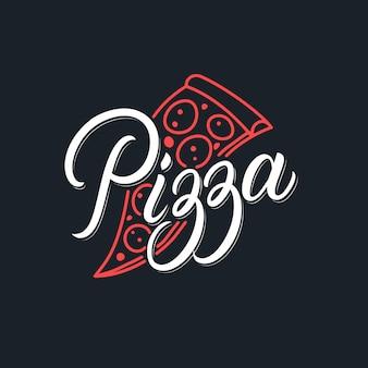 Pizza manuscrite lettrage logo restaurant, pizzeria, café. style rétro vintage. calligraphie moderne, typographie. .