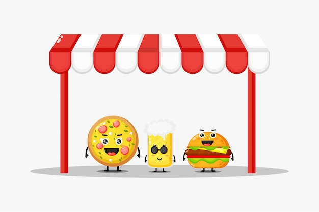 Pizza mignonne, boisson gazeuse et mascotte burger