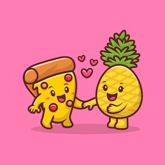 Pizza mignonne avec illustration de vecteur de dessin animé d'ananas. concept de nourriture et de boisson vecteur isolé. style de bande dessinée plat