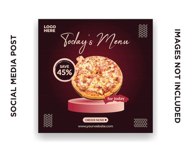 Pizza de modèle de médias sociaux