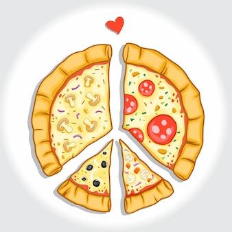 Pizza avec la paix du symbole