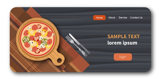Pizza sur une planche de bois à côté d'une fourchette et d'un couteau