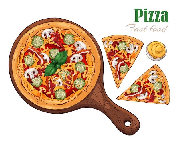 Pizza sur une planche.