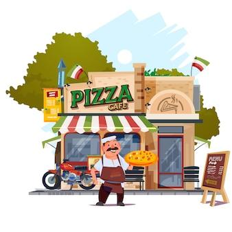 Pizza restaurant avec chef