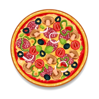 Pizza savoureuse ronde colorée