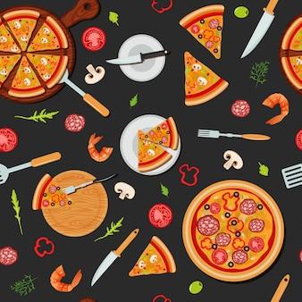 Pizza seamless pattern avec des ingrédients