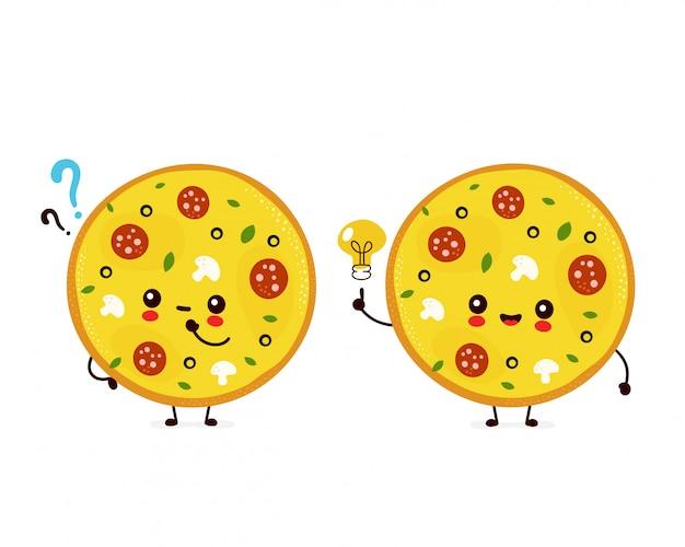 Pizza souriante heureuse mignonne avec point d'interrogation et ampoule idée.