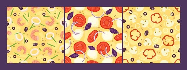Pizza topping seamless patterns met du fromage, des tomates, des oignons, des olives, des fruits de mer, des champignons.