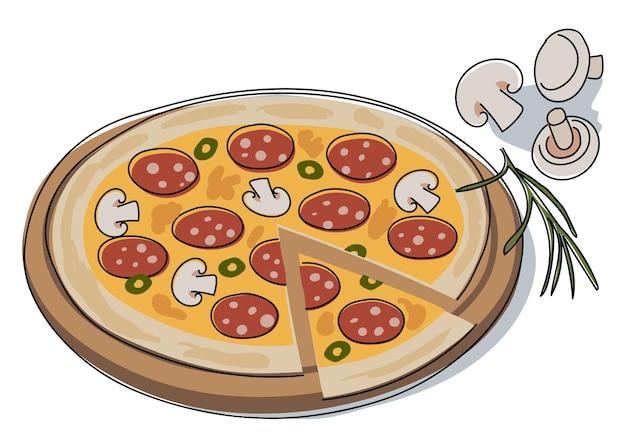 Pizza avec une tranche coupée sur une planche de bois. champignons, saucisses et olives. dessin vectoriel stylisé dans un style doodle, pour menu, affiche de cuisine, textiles.