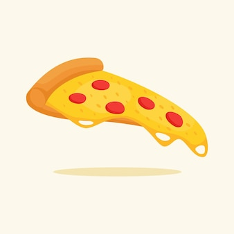 Pizza tranche fromage fondu pepperoni garniture pâte croquante