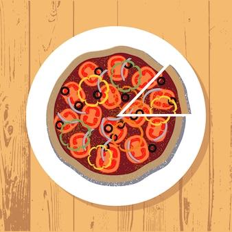 Pizza et tranche de pizza sur une plaque blanche