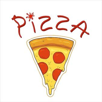 Pizza en tranches avec fromage et saucisses pizza ketchup lettrage illustration vectorielle plane