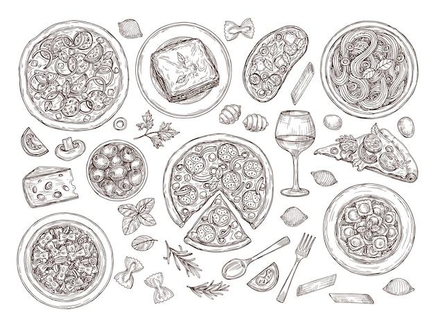 Pizzas et pâtes. cuisine italienne, plats de variété de griffonnages, vin de tomate. cuisine traditionnelle italienne dessinée à la main, ensemble de vecteurs de fromage à assiette de spaghetti. illustration de la cuisson des pizzas et des pâtes, menu alimentaire