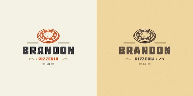 Pizzeria logo vector illustration pizza silhouette bonne pour le menu du restaurant et le badge de café