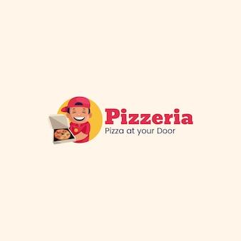 Pizzeria pizza à votre porte modèle de logo de mascotte vecteur