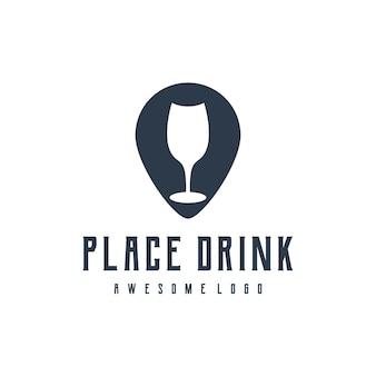 Place boisson silhouette rétro vintage