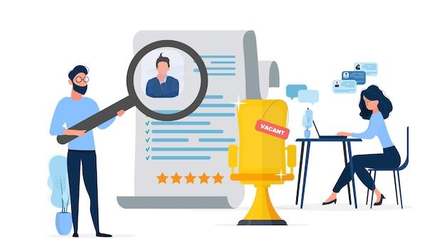 Place libre. le gars sous la loupe examine le cv. la fille à l'ordinateur cherche de nouveaux employés. le concept de trouver des gens pour travailler. illustration