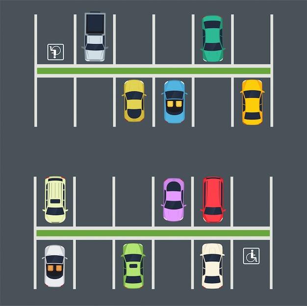Place de parking avec des voitures.