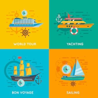 Place plate icônes concept nautique