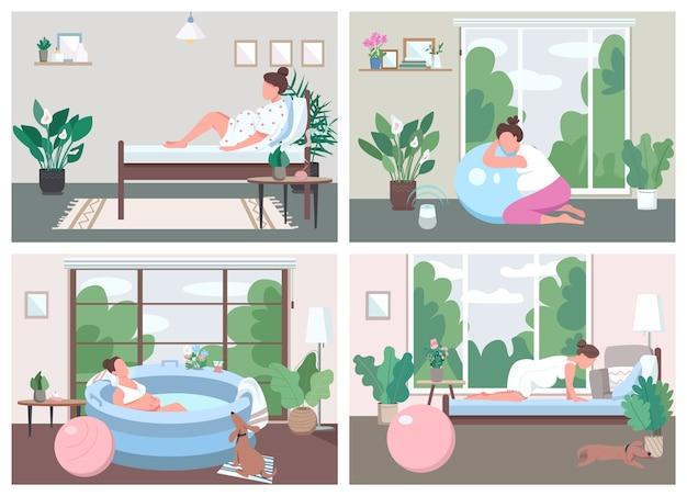 Place pour l'accouchement à la maison jeu de couleurs plat. formation pour une naissance alternative. exercice prénatal. personnages de dessins animés 2d femmes enceintes avec intérieur sur la collection d'arrière-plan