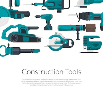 Place pour le texte avec jeu d'outils de construction électrique