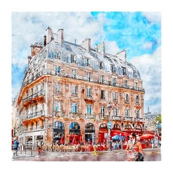 Place saint michel paris france croquis aquarelle illustration dessinée à la main