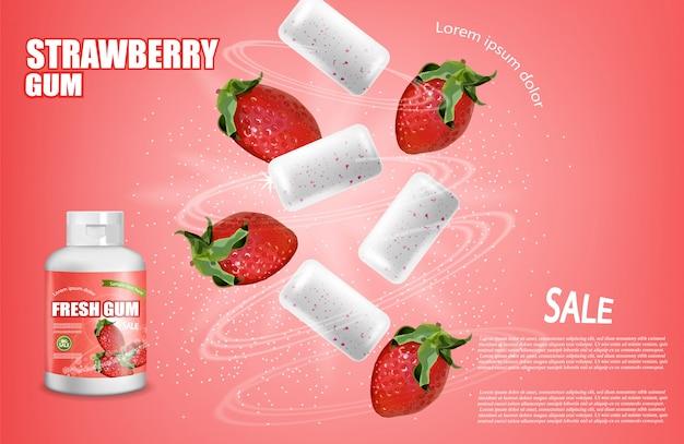Placement de produits de gomme à mâcher à la fraise