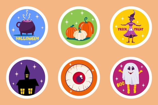 Placez des autocollants d'halloween de forme ronde avec un crâne de sorcière de maison effrayant de citrouilles et un joyeux halloween