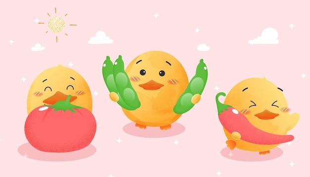 Placez le canard mignon avec le potager, style d'aquarelle.