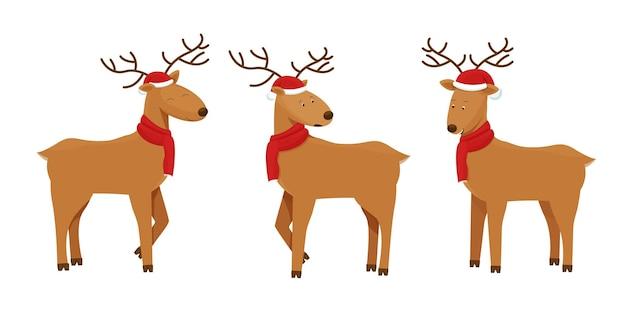 Placez le cerf de noël dans le chapeau mignon et l'écharpe rouge tricotée dans le style de dessin animé